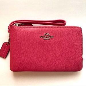 COACH Leather Double Corner Zip Wristlet in Pink